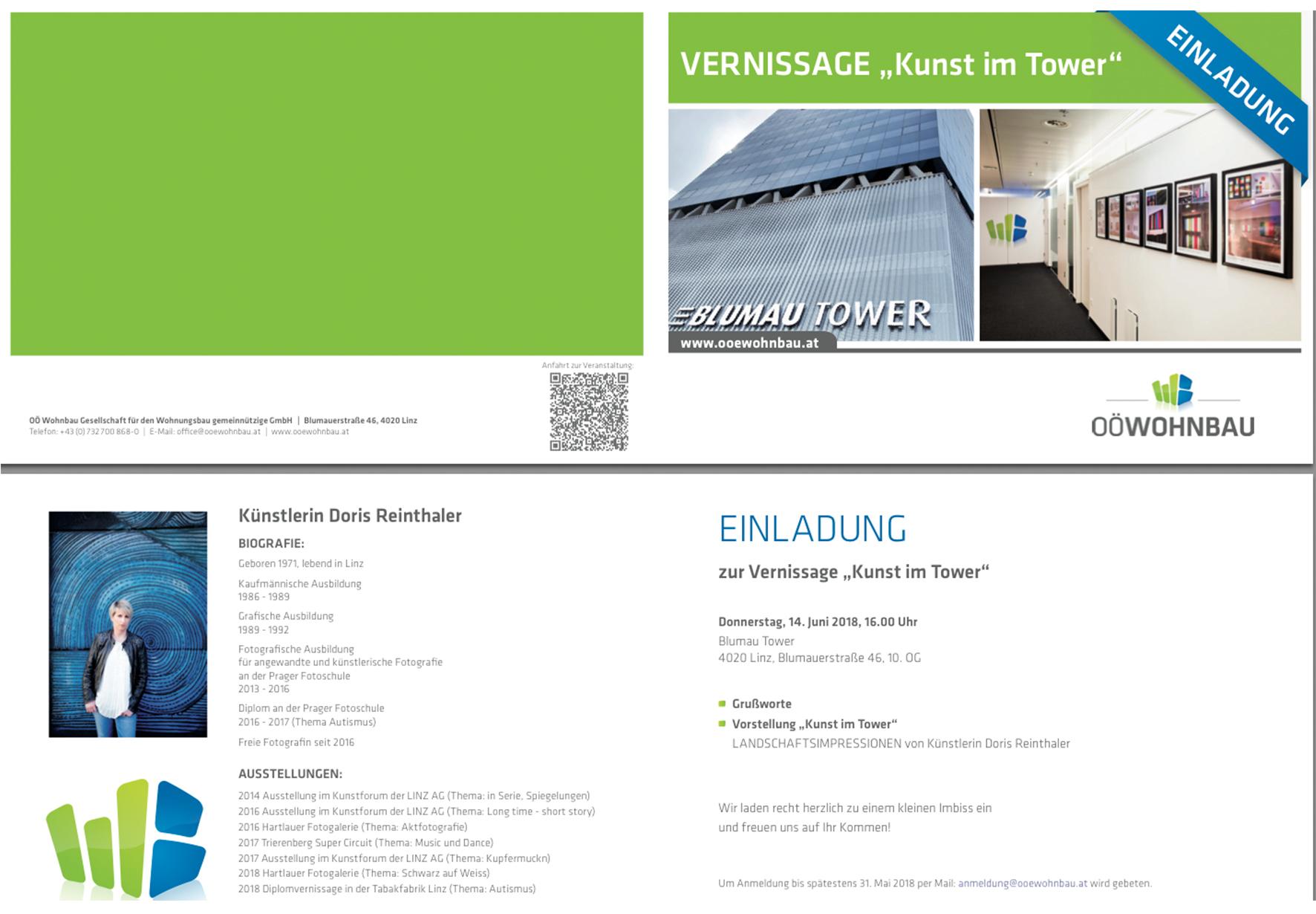 Einladung zur Einzelvernissage, Kunst im Tower, OÖ. Wohnbau in Linz, Thema Impressionismus in der Landschaftsfotografie by Doris Reinthaler Fotografie